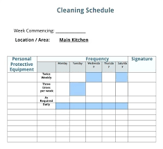 Home Cleaning Schedule Template House Cleaning Schedule