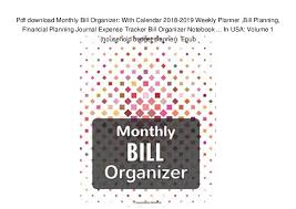 monthly bill organizer notebook pdf download monthly bill organizer with calendar 2018 2019 weekly p