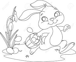 Cute Easter Bunny Hiding Eggs Coloring
