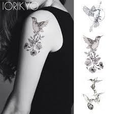 2657 руб 15 скидкановый черный колибри временные татуировки наклейки женские руки