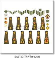 British Rank Insignia Chart British Army Insignia Art Print Poster