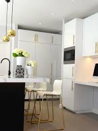 modern kitchen black and white. Black \u0026 White Kitchen With Brass And Gold Accessories, High Gloss Cabinets, Pendant Lights, Island, Greek Key Blinds, Cream Bar Modern