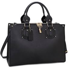 Designer Black Satchel Bags Large Satchel Handbag Padlock Anti Theft Designer Purse W