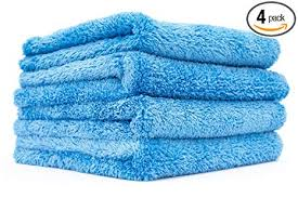 The Rag Company 4 Pack 16 In X 16 In Eagle Edgeless 500 Professional Korean 70 30 Super Plush 500gsm Microfiber Detailing Towels 16x16 Blue
