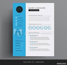 Modern Resume Color Cv Resume Design Template Blue Color Minimalist Vector