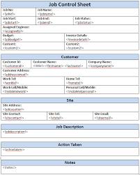 Job Information Sheet Template