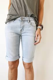 Light Shorts Outfit Light Wash Denim Bermuda Shorts Roolee Knee Length Denim
