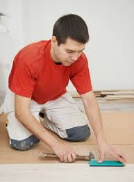 floor covering installer at work