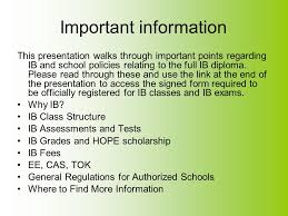 ib full diploma parent student information ppt video online  important information