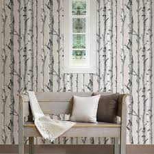 Tree Design Wallpaper Living Room Wallpops Birch Tree Peel And Stick Wallpaper Reviews Wayfair