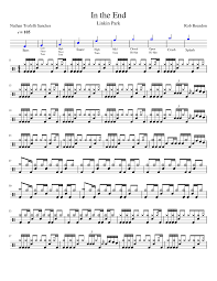 drum sheet in the end linkin park drum sheet music sheet music for