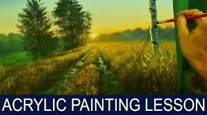 acrylic landscape painting tutorial sunrise on road with birch tree jm lisondra