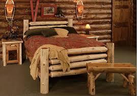 log furniture ideas. Furniture:Rustic Log Bedroom Furniture Ideas Wit Red Flower Pattern Bedding Sets Also Antique Wall R