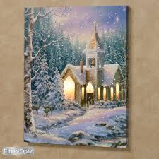 Lighted Christmas Artwork Dona Gelsinger Christmas Chapel Fiber Optic Lighted Canvas Wall Art
