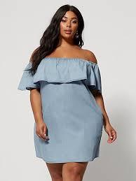 plus size madeleine off shoulder denim dress fashion to figure