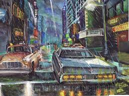 night in the rotten apple early 80s nyc painting by fastlaneilration