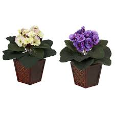 h orted african violet silk plants with vase set of 2