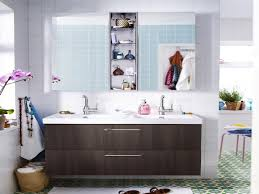 ikea furniture rectangle dark brown wooden floating washstand vanity with white sink added by rectangle mirror and cabinet on the wall some brilliant double brilliant bathroom vanity mirrors decoration black wall