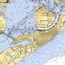 Texas Galveston Close Up Nautical Chart Decor