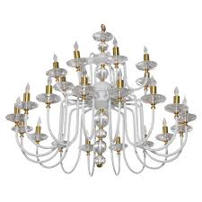 mid century white painted and brass chandelier for