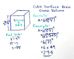 volume equation cube. find cube surface area given volume equation