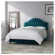 Skyline Diamond Tufted Bed Green California King Skyline