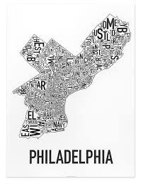 philadelphia neighborhood map  x  classic black  white poster