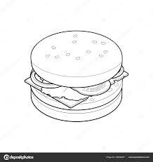 Isometrica Di Hamburger Da Colorare Libro Cibo Malsano Concetto
