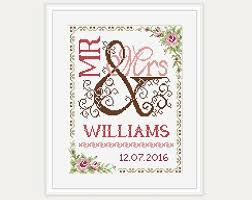 Wedding Cross Stitch Patterns Gorgeous Wedding Cross Stitch Pattern Gift For Couple Mr Mrs Etsy