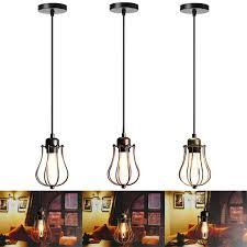 e27 vintage ceiling edison light pendant lamp cage lampshade fixture chandelier