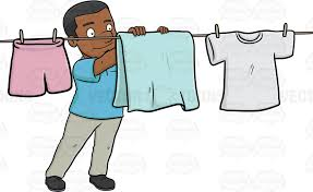 hanging laundry clipart black and white. Interesting Hanging A Cheerful Black Man Hanging Garments To Dry On A Bright Day Throughout Hanging Laundry Clipart Black And White