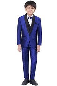 Blue Coat Jeet Boys Blue Coat Suit With Waistcoat Shirt Bow And Pant Set 9041bs