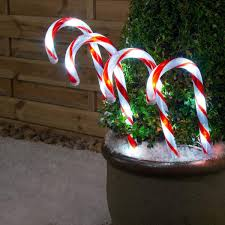 Christmas Candy Cane Garden Stake Lights Set Of 4 Christow Christmas Candy Cane Led Lights 4 Pack Pathway Outdoor Garden Decorations Battery Or Mains Red White Or Multi Coloured Small 26cm