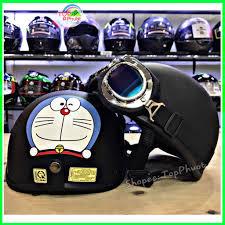 Mũ bảo hiểm nửa đầu cute Doremon đen - Nón bảo hiểm đạt chuẩn, cao cấp, dày  dặn - Mũ & mũ lưỡi trai