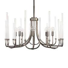 8 light satin copper bronze chandelier with clear smooth glass rods