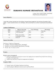 Resume Models 3 Mba Format Sukanya Kumari Srivastava