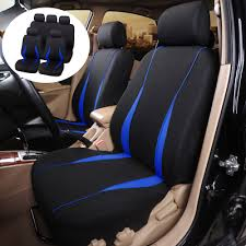 9x black blue car seat covers