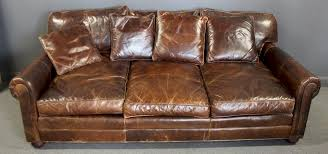 vintage restoration hardware leather sofa by clarke auction 1205513 bidsquare