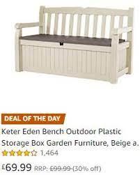 plastic garden storage bench box off 70