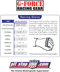 Sizing Chart G Force Auto Racing Glove Sizing Chart