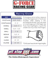 G Fore Size Chart Sizing Chart G Force Auto Racing Glove Sizing Chart