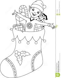 Elf Coloring Page Stock Vector With Christmas Socks Pages - glum.me