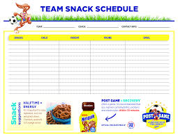 Team Snack Schedule Template Team Snack Schedule Templates At Allbusinesstemplates Com