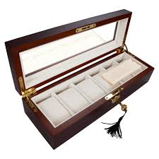 6 slot wood watch display case box glass top jewelry storage 6 slot wood watch display case box glass