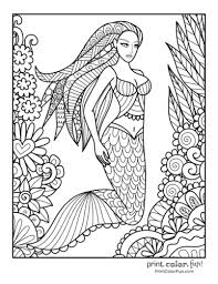 These mermaids are simply magical and beautiful and they will let you loose yourself in the world of colouring. 30 Mermaid Coloring Pages Free Fantasy Printables Print Color Fun