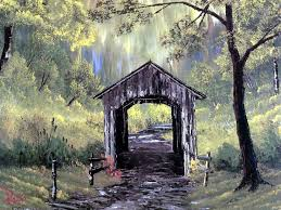 bob ross waterfalls oil painting