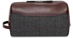ci leather toiletry travel bag with checked wool insert for men lyst