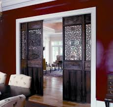 interior barn door for home with decorative carving room