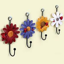 glamorous decorative single wall hooks resin iron hook clothes hanging rustic mounted coat flower robe for