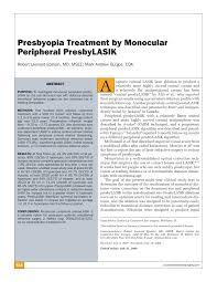 Pdf Presbyopia Treatment By Monocular Peripheral Presbylasik